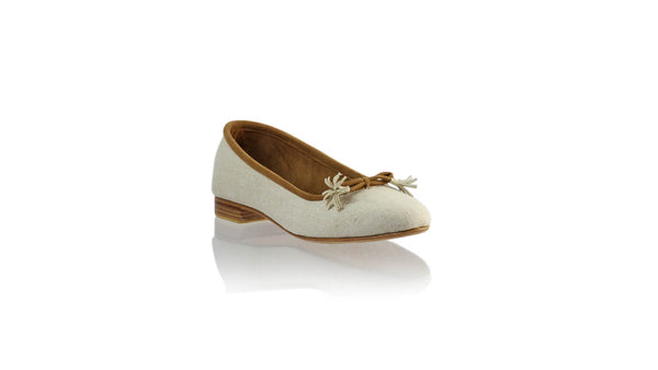 Leather-shoes-Noemi 20mm Ballet - Ivory Linen-flats ballet-NILUH DJELANTIK-NILUH DJELANTIK