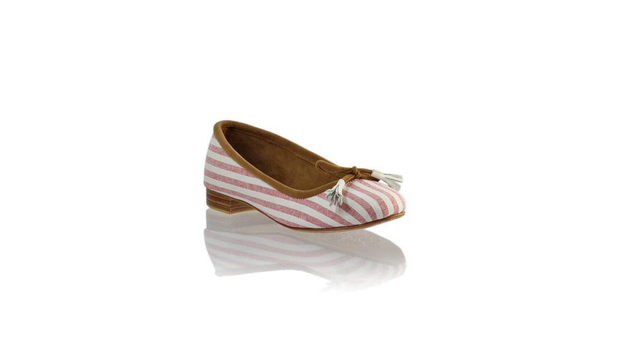 Leather-shoes-Noemi 20mm Ballet - White & Pink Line Linen-flats ballet-NILUH DJELANTIK-NILUH DJELANTIK