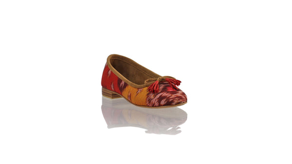 Leather-shoes-Sasha 20mm Ballet - Red & Orange Handwoven Ikat-flats ballet-NILUH DJELANTIK-NILUH DJELANTIK