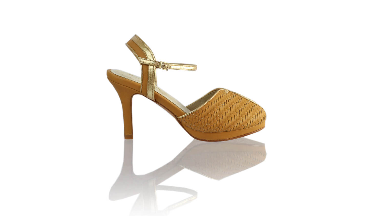 Leather-shoes-Agnes Woven 90mm SH-01 PF - Nude & Gold-pumps highheel-NILUH DJELANTIK-NILUH DJELANTIK