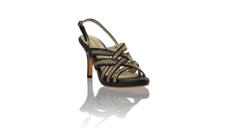 Leather-shoes-Ellok PF 90MM SH-01 - Black & Gold-High Heels-NILUH DJELANTIK-NILUH DJELANTIK