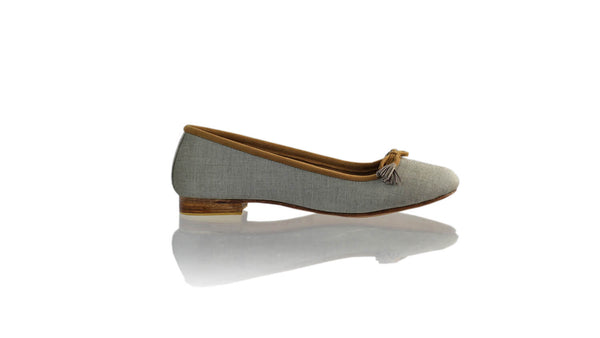Leather-shoes-Noemi 20mm Ballet - Grey Linen-flats ballet-NILUH DJELANTIK-NILUH DJELANTIK