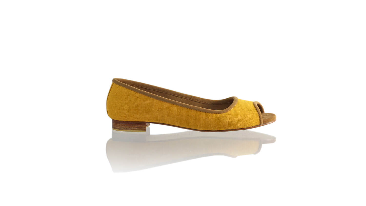 Leather-shoes-Kate Peeptoe 20mm Ballet - Yellow Linen-flats ballet-NILUH DJELANTIK-NILUH DJELANTIK