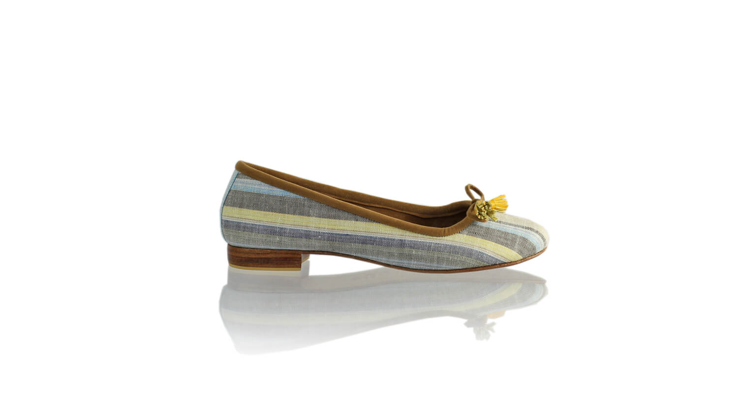 Leather-shoes-Noemi 20mm Ballet - Yellow & Blue Linen-flats ballet-NILUH DJELANTIK-NILUH DJELANTIK