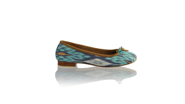 Leather-shoes-Sasha 20mm Ballet - Aqua & Grey Handwoven Ikat-flats ballet-NILUH DJELANTIK-NILUH DJELANTIK