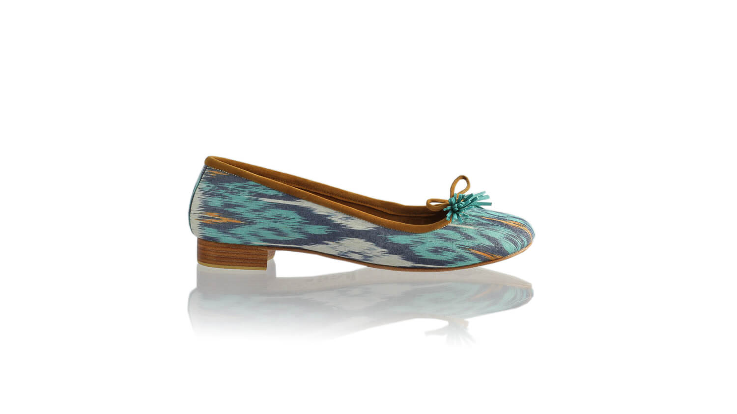 Leather-shoes-Noemi 20mm Ballet - Aqua & Grey Handwoven Ikat-flats ballet-NILUH DJELANTIK-NILUH DJELANTIK