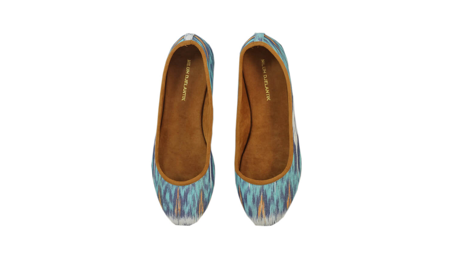 Leather-shoes-Kate 20mm Ballet - Aqua & Grey Handwoven Ikat-flats ballet-NILUH DJELANTIK-NILUH DJELANTIK