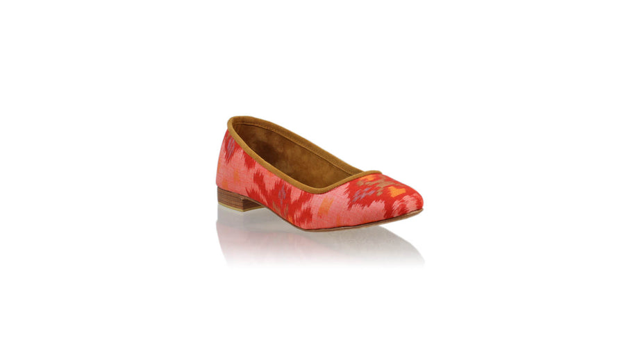 Leather-shoes-Kate 20mm Ballet - Red Handwoven Ikat-flats ballet-NILUH DJELANTIK-NILUH DJELANTIK