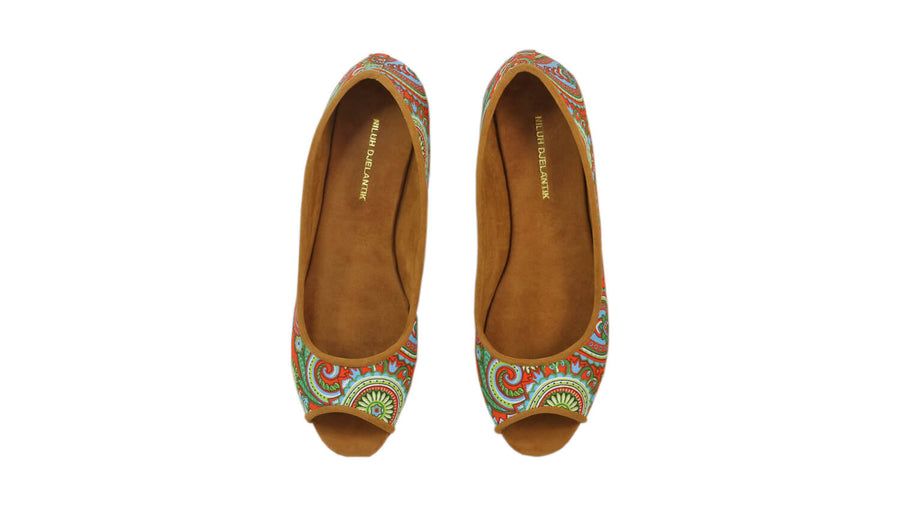 Leather-shoes-Kate Peeptoe 20mm Ballet - Orange Paisley-flats ballet-NILUH DJELANTIK-NILUH DJELANTIK