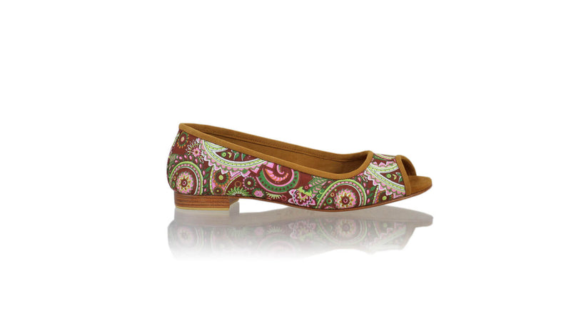 Leather-shoes-Kate Peeptoe 20mm Ballet - Purple Paisley-flats ballet-NILUH DJELANTIK-NILUH DJELANTIK