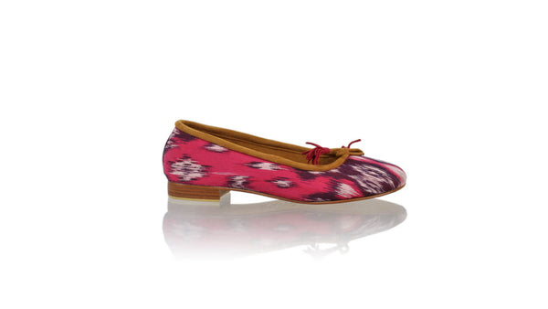 Leather-shoes-Sasha 20mm Ballet - Fuschia Handwoven Ikat-flats ballet-NILUH DJELANTIK-NILUH DJELANTIK