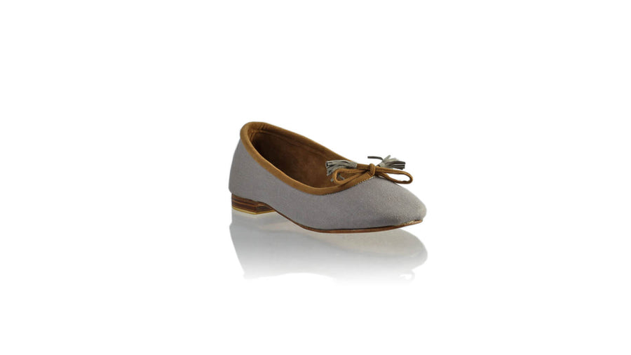 Leather-shoes-Sasha 20mm Ballet - Grey Linen - 02-flats ballet-NILUH DJELANTIK-NILUH DJELANTIK