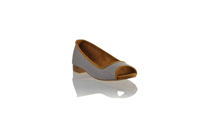 Leather-shoes-Kate Peeptoe 20mm Ballet - Grey Linen - 02-flats ballet-NILUH DJELANTIK-NILUH DJELANTIK
