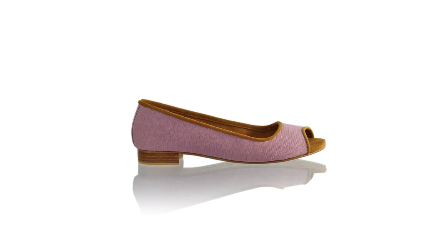 Leather-shoes-Kate Peeptoe 20mm Ballet - Purple Linen-flats ballet-NILUH DJELANTIK-NILUH DJELANTIK