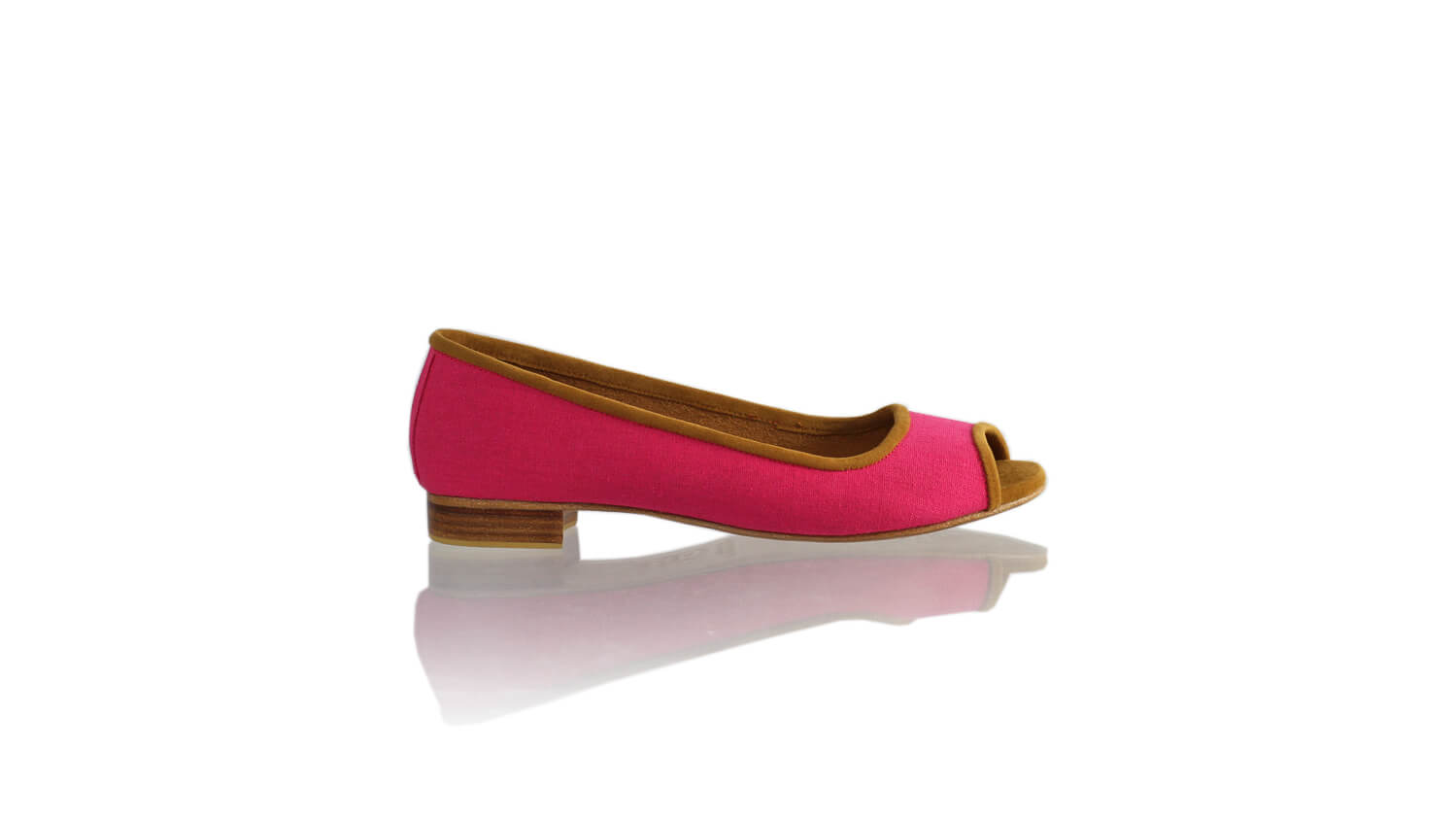 Leather-shoes-Kate Peeptoe 20mm Ballet - Fuschia Linen-flats ballet-NILUH DJELANTIK-NILUH DJELANTIK