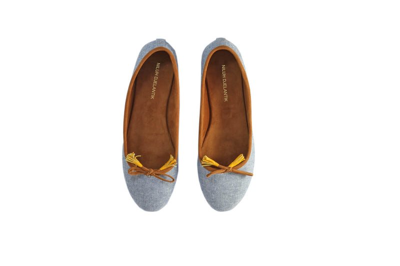 Leather-shoes-Noemi 20mm Ballet - Light Blue Linen 2-flats ballet-NILUH DJELANTIK-NILUH DJELANTIK