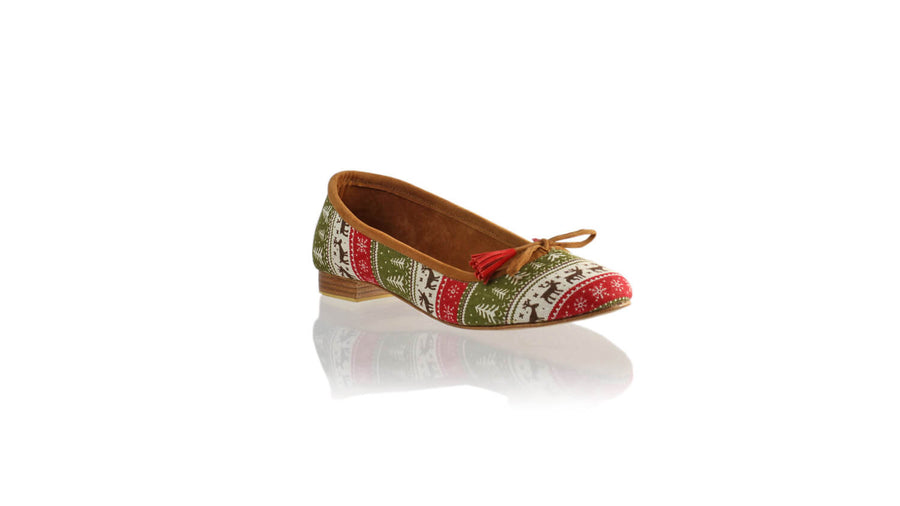 Leather-shoes-Noemi 20mm Ballet - Red & Olive Deer Canvas-flats ballet-NILUH DJELANTIK-NILUH DJELANTIK