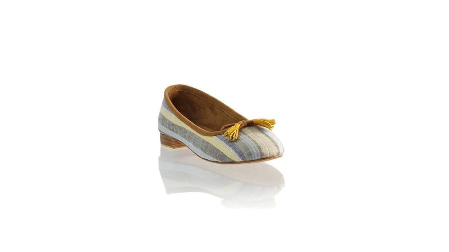 Leather-shoes-Sasha 20mm Ballet - Yellow & Blue Linen-flats ballet-NILUH DJELANTIK-NILUH DJELANTIK