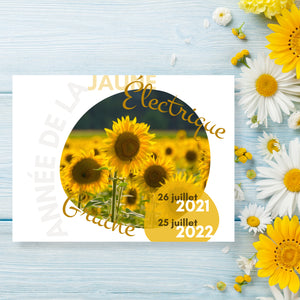 Cover page of the french version of the Calendar. With a beautiful sunflower field picture on the cover.
