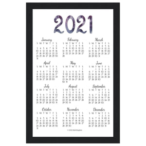 English 2021 Annual Calendar Poster Black Wooden Frame