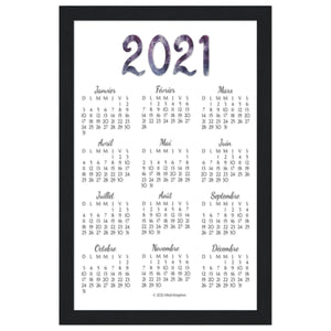 French 2021 Annual Calendar Black Wooden Frame