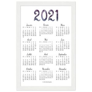 French 2021 Annual Calendar White Wooden Frame
