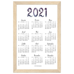 French 2021 Annual Calendar Natural Wooden Frame