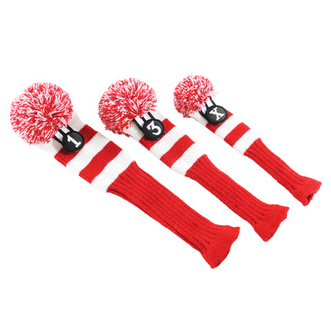 POM POM HEAD COVERS RED&WH