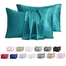 Load image into Gallery viewer, MR&HM Satin Pillowcase for Hair and Skin, 2 Pack Silky Satin Pillow Cases No Zipper, Queen Size Pillow Covers with Envelope Closure (20x30, Teal)