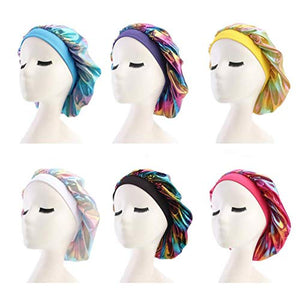 Elastic Wide Band Hat,Satin Sleep Cap, Night Sleeping Head Cover for Sleeping Supplies (blue&yellow&pink&purple&red&black-6pcs)