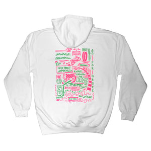 Savage Fluorescent Doodle Pullover White Hoodie  - The Savage Illustrated Series