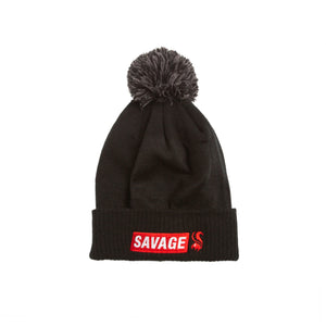 Savage Red On Black Beanie Hat