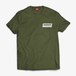 Military Green T-Shirt soft touch short sleeve White Savage Motorsport Logo