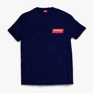 Navy T-Shirt soft touch short sleeve Red Savage Motorsport Logo