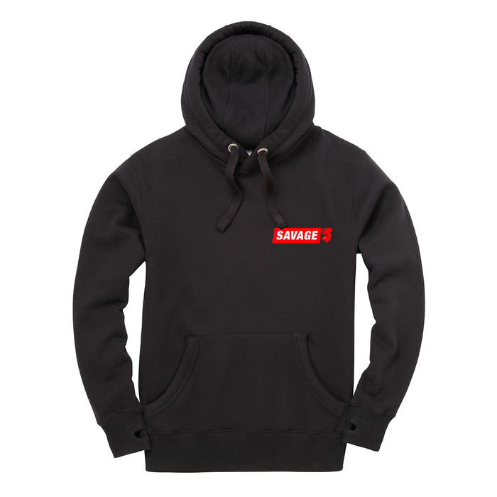 Savage Pullover Hoodie in Black With Embroidered Red Logo