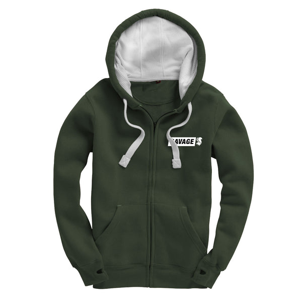 Savage Zip Up Hoodie in Olive Green With Embroidered White Logo
