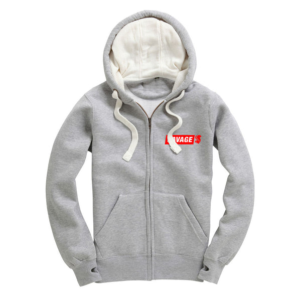 Savage Zip Up Hoodie in Grey With Embroidered Red Logo