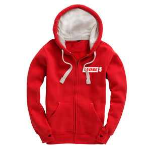 Savage Zip Up Hoodie in Red With Embroidered White Logo