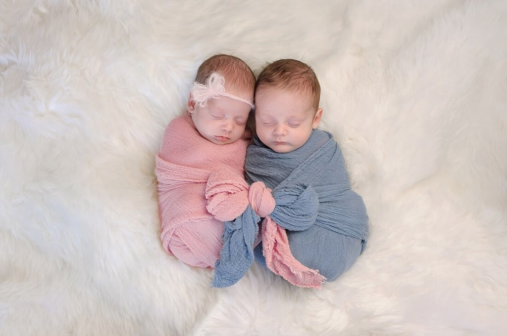 Two month old, boy and girl fraternal twin babies - Roll Up Baby