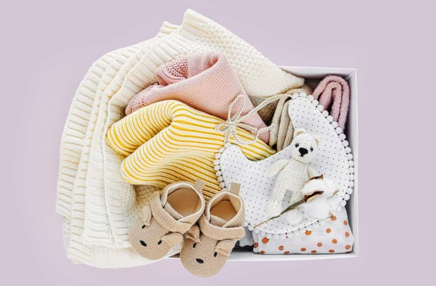 Box with baby stuff and accessories for newborn - Roll Up Baby