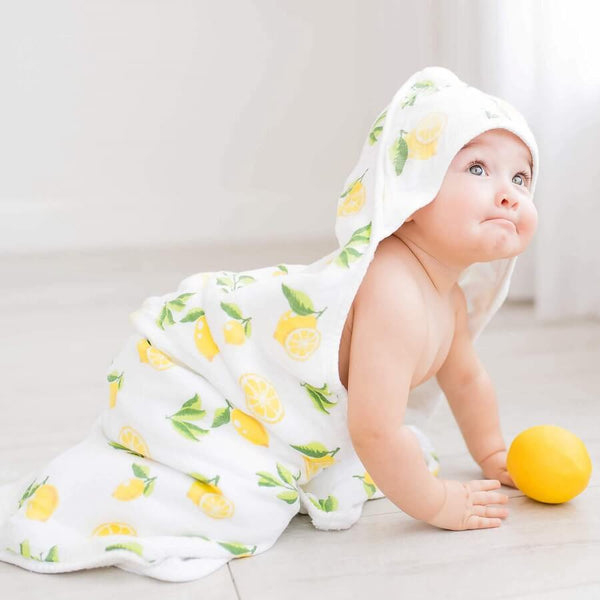 Baby Bamboo Hooded Towel - Lemon Print - Roll Up Baby