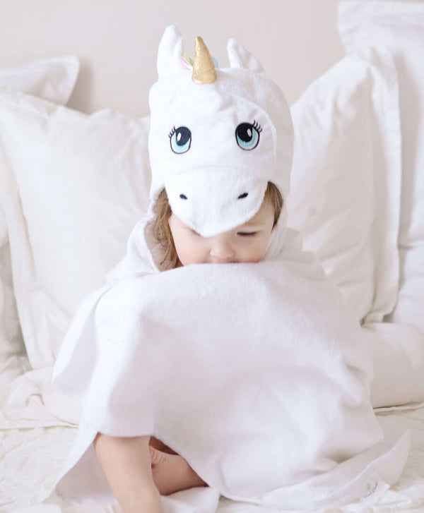 Baby Bamboo Hooded Towel - Unicorn White - Roll Up Baby