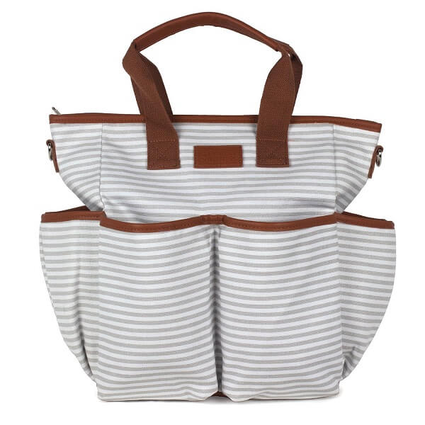 Baby Canvas Diaper Bag - Gray Striped - Roll Up Baby