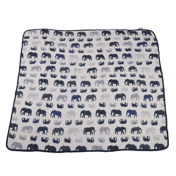 Baby Muslin Blanket - Blue Elephants and Spotted Wave - Roll Up Baby