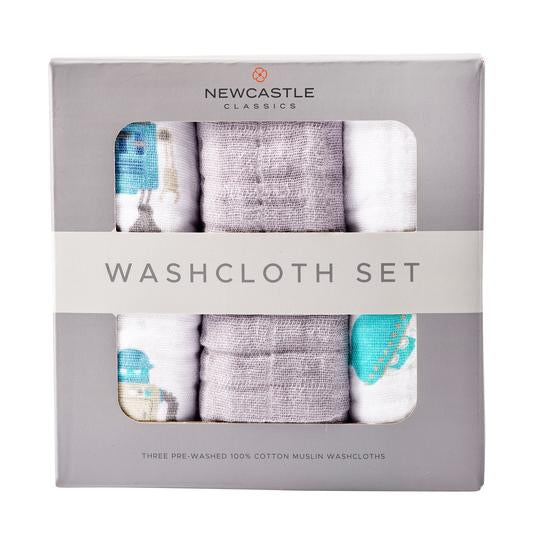 Baby Muslin Washcloth Set - Robot - Roll Up Baby