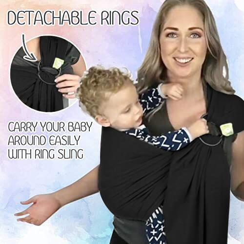 Baby Ring Sling & Wrap Carrier - Trendy Black - Roll Up Baby