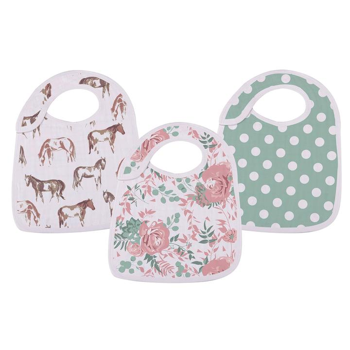 Baby Snap Bibs Horses and Roses - Roll Up Baby