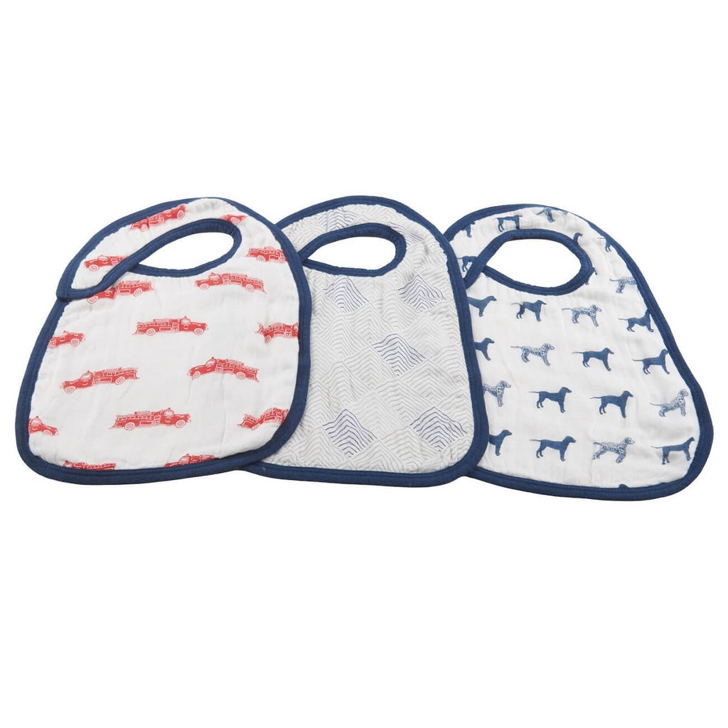 Baby Snap Bibs - Set of 3 - Fire Truck and Dalmatian - Roll Up Baby