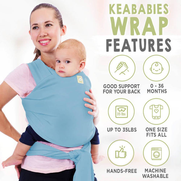 Baby Wrap Carrier - Baby Blue - Roll Up Baby