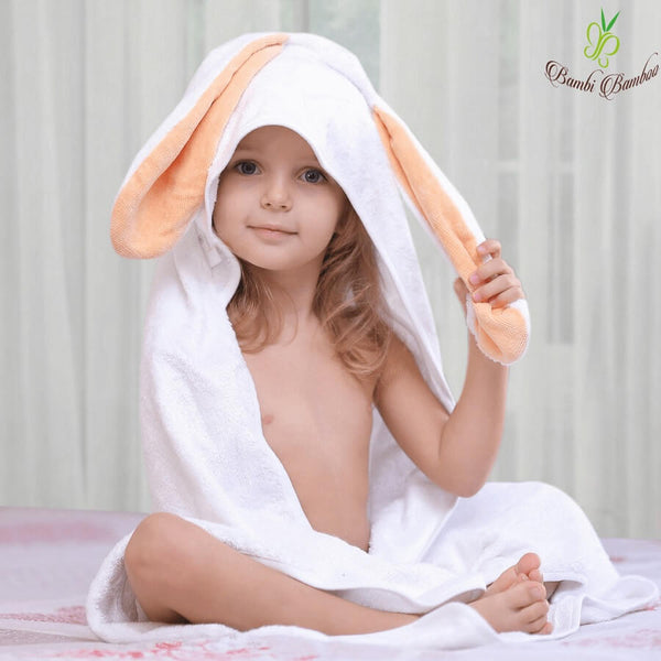 Bamboo Baby Hooded Towel - Amber Bunny - Roll Up Baby